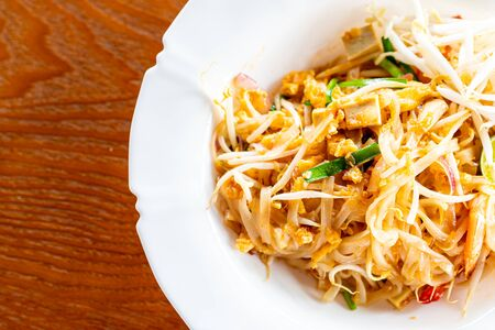 Thai style noodles , Pad thai (stir-fried noodle with shrimp)