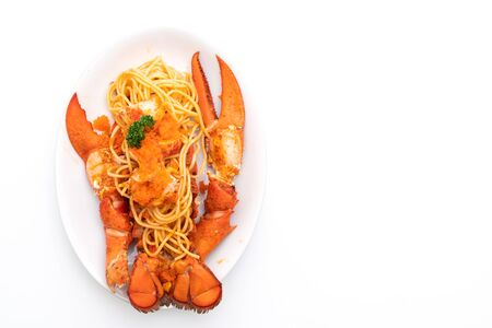 lobster spaghetti with shrimp eggs isolated on white background