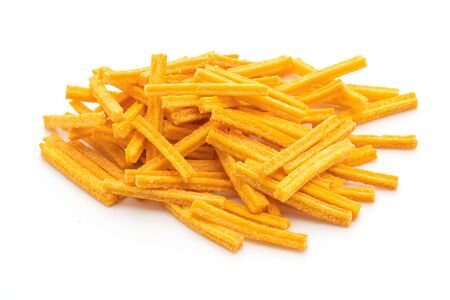 crispy corn snack isolated on white background