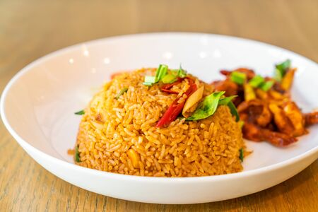 Tom Yum Fried Rice with Shrimps - Thai food style Stock Photo