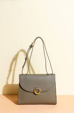 beautiful woman leather fashion bag