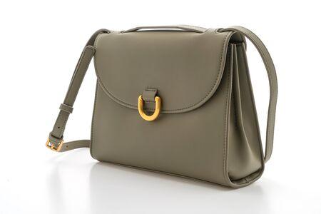 Frau Leder Modetasche isoliert auf weißem Hintergrund Standard-Bild