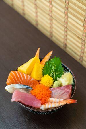 mix fresh raw on topped rice bowl (donburi) - Japanese food style