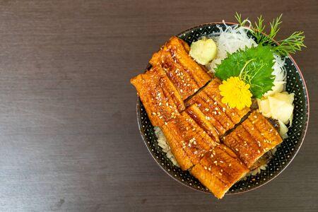 eel (Unagi) on topped rice bowl (donburi) - Japanese food style Stok Fotoğraf