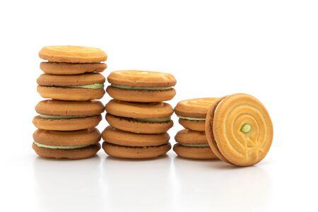 cookies with pandan cream isolated on white background