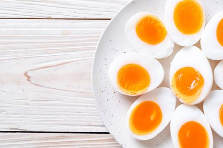 Soft Boiled Eggs on white plate