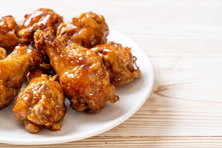fried chicken with sauce in Korean style Stock Photo