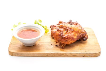 grilled and barbecue chicken isolated on white background Stock Photo - 128809063