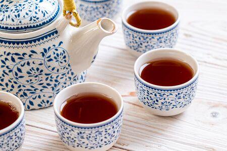 close-up beautiful Chinese tea set Banco de Imagens