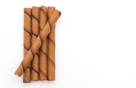 chocolate wafer stick roll isolated on white background