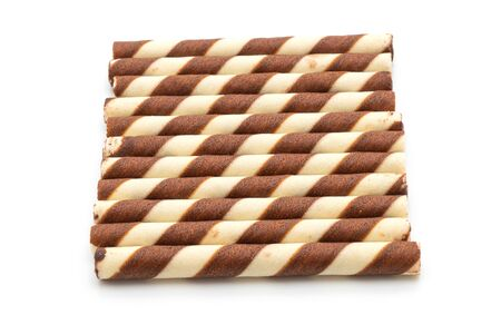 biscuit wafer stick with chocolate cream flavour isolated on white background Zdjęcie Seryjne