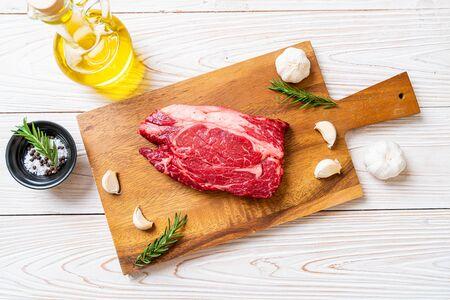 fresh raw beef steak or raw meat