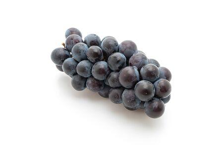 fresh black grapes isolated on white background