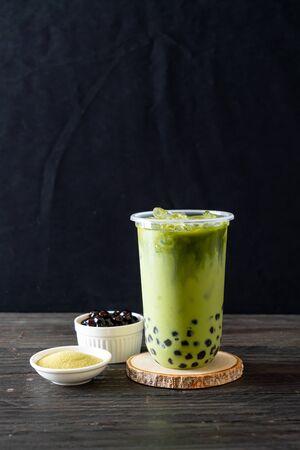 matcha green tea latte with bubble