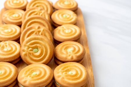 cookies with pandan and milk cream Banco de Imagens