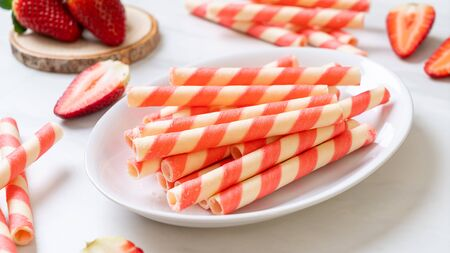 wafer roll stick with strawberry cream flavour