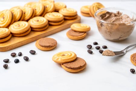 sandwich cookies with coffee cream Stock Photo