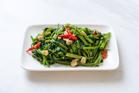 Stir-Fried Chinese Morning Glory or Water Spinach - Asian food style Stok Fotoğraf