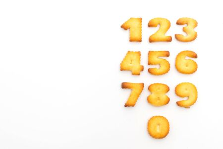 biscuits in a set of numbers isolated on white background 写真素材