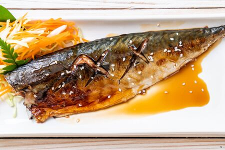 Grilled Saba fish steak with teriyaki sauce - Japanese food style Stok Fotoğraf - 129880582