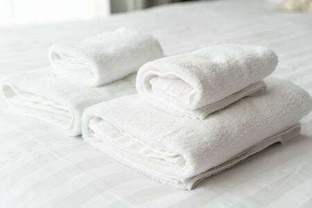 white towel decoration on bed in bed room interior Stok Fotoğraf