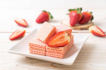 wafer with strawberry cream  flavour Stock Photo