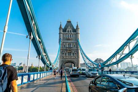 London  United Kingdom - AUG 27 2019: Tower Bridge crossing the River Thames in London, United Kingdom Editorial