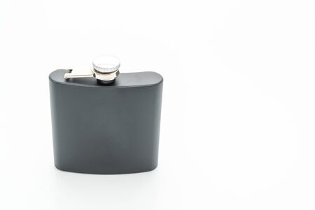 stainless steel hip flask isolated on white background