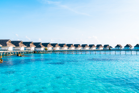 Beautiful tropical Maldives resort hotel and island with beach and sea  - boost up color processing style 報道画像