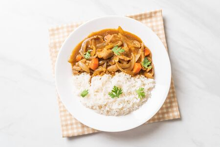 Japanese curry rice with sliced pork, carrot and onions - Asian style Stockfoto