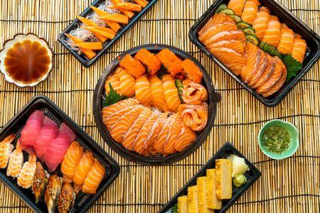 mixed sushi set on black box - Japanese food style