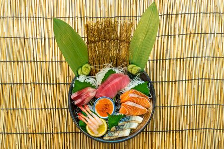 fresh salmon tuna and hamachi raw sashimi - Japanese food style