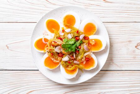 Soft Boiled Eggs Spicy Salad - Healthy food style