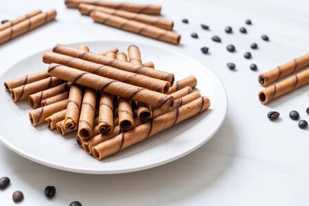 coffee wafer stick roll with coffee cream