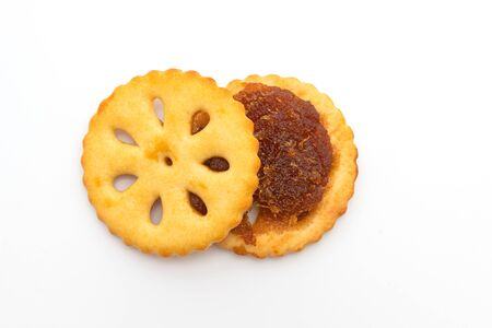 biscuits with pineapple jam isolated on white background