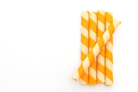 biscuits wafer stick with orange cream flavour isolated on white background