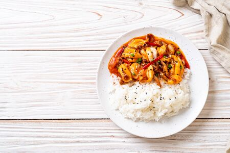 stir-fried octopus or squid and Korean spicy paste (osam bulgogi) with rice - Korean food style