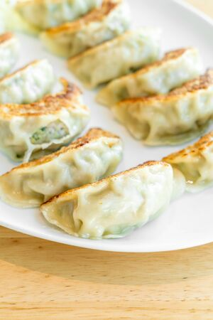 Japanese gyoza or dumplings with soy sauce - Japanese food style