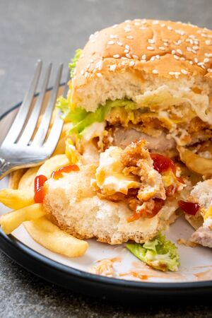 fried chicken burger - unhealthy food style Stockfoto