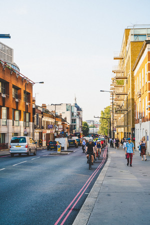 LONDON, UNITED KINGDOM - AUG 27 2019 : This is a street in the City of London financial district, UK