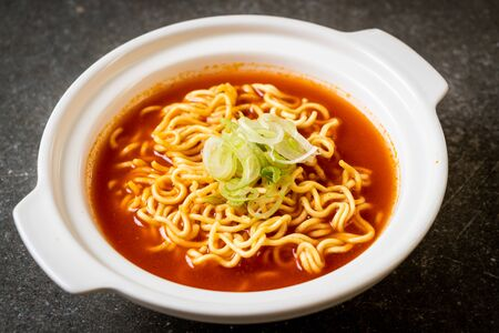 korean spicy instant noodles with kimchi - korean food style