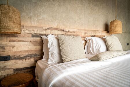 beautiful comfortable pillows decoration on bed in bedroom