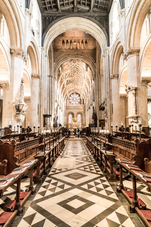 OXFORD, UK - AUG 29, 2019: Interior of University Church of St Mary the Virgin. It is the largest of Oxfords parish churches and the centre, Oxford , UK. Redakční