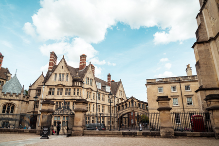 OXFORD, UNITED KINGDOM - AUG 29 2019 :  The Bridge of Sighs connecting two buildings at Hertford College in Oxford, England, UK