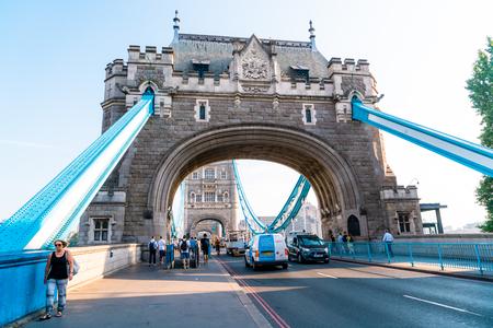 London  United Kingdom - AUG 27 2019: Tower Bridge crossing the River Thames in London, United Kingdom Editorial