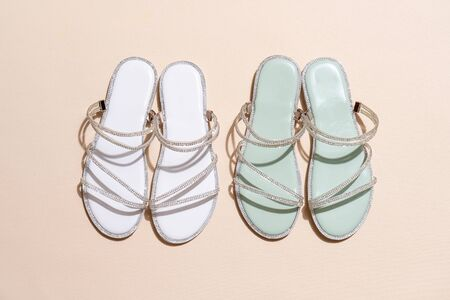 beautiful woman fashion shoes or sandals Stock Photo