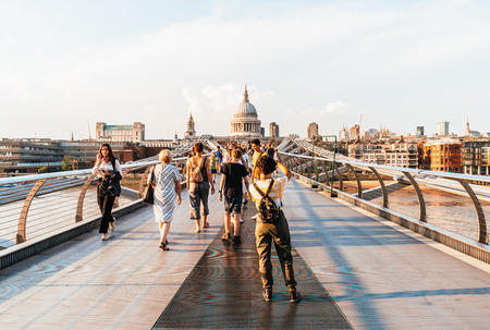 LONDON, UK, AUG 27, 2019: People are walking through Millenium bridge, St Paul's cathedral behind in London Editorial