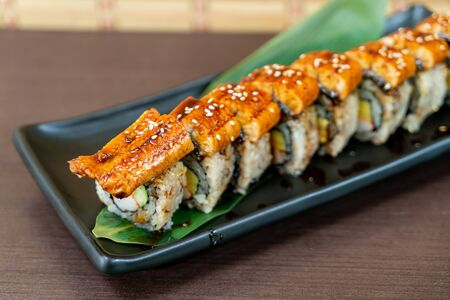 eel (unagi) sushi roll - japanese food style