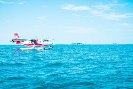 seaplane is taking off at the airport in Maldives with beautiful sky Stock fotó