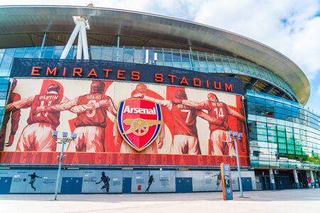 LONDON, UNITED KINGDOM - 31 AUG 2019: Outside view of Emirates Stadium,the home ground for Arsenal Football Club. 版權商用圖片